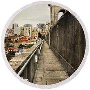 Lisbon Aqueduct Round Beach Towel