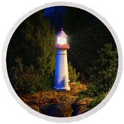 Lit-up Lighthouse Round Beach Towel
