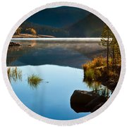 Round Beach Towel featuring the photograph Lite Early Morning Mist by Steven Reed