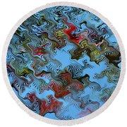 Round Beach Towel featuring the digital art Literati by rd Erickson