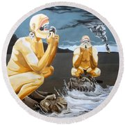 Round Beach Towel featuring the painting Lithophagus Listen With Music Of The Description Box by Lazaro Hurtado