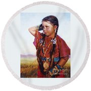 Little American Beauty II Round Beach Towel
