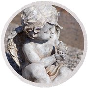 Little Angel With Bird In His Hand - Sculpture Round Beach Towel