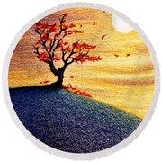 Little Autumn Tree Round Beach Towel