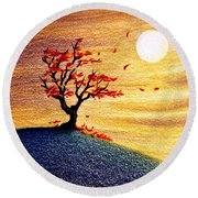 Little Autumn Tree Round Beach Towel