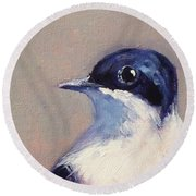 Little Blue And White Round Beach Towel