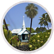 Little Blue Church Kona Round Beach Towel
