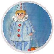 Little Blue Clown Round Beach Towel