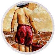 Little Boy On The Beach II Round Beach Towel