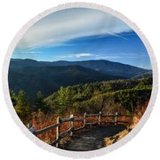 Round Beach Towel featuring the photograph Little Cataloochee Overlook In Summer by Debbie Green