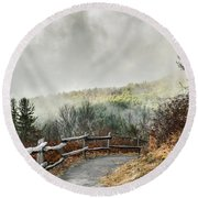Round Beach Towel featuring the photograph Little Cataloochee Overlook In The Great Smoky Mountains by Debbie Green
