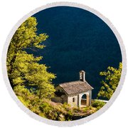 Little Chapel In Ticino With Beautiful Green Trees Round Beach Towel