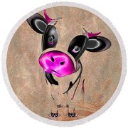 Little Cow Round Beach Towel by Liane Wright