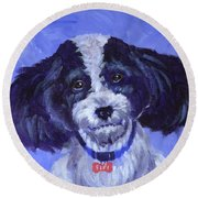 Little Dog Blue Round Beach Towel