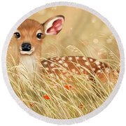 Little Fawn Round Beach Towel