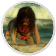 Round Beach Towel featuring the photograph Little Girl At The Beach by Lydia Holly