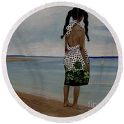 Little Girl On The Beach Round Beach Towel
