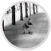 Little Girl With Ball Paris Round Beach Towel