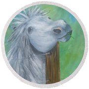 Round Beach Towel featuring the painting Little Grey Has An Itch by Isabella F Abbie Shores FRSA