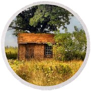 Round Beach Towel featuring the photograph Little House On The Prairie by Peggy Franz