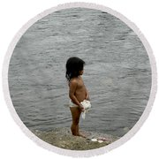 Little Laundress Round Beach Towel by Kathy McClure
