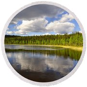 Round Beach Towel featuring the photograph Little Lost Lake by Cathy Mahnke
