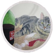Little Ol' Wine Drinker Me Round Beach Towel