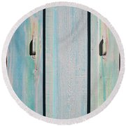 Round Beach Towel featuring the sculpture Little Pump House Door by Asha Carolyn Young