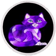 Little Purple Cat Round Beach Towel