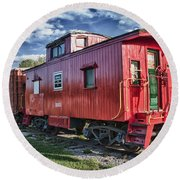 Little Red Caboose Round Beach Towel