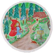 Little Red Riding Hood With Grandma's House On Mailbox Round Beach Towel