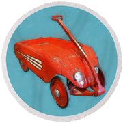 Little Red Wagon Round Beach Towel