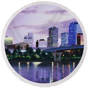 Little Rock Skyline Round Beach Towel