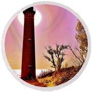 Little Sable Point Lighthouse Round Beach Towel