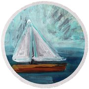 Little Sailboat- Expressionist Painting Round Beach Towel