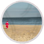 Little Santa On The Beach Round Beach Towel