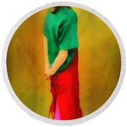 Little Shopgirl Round Beach Towel by RC deWinter