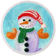 Little Snowman Round Beach Towel