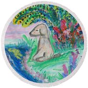 Round Beach Towel featuring the painting Little Sweet Pea by Diane Pape