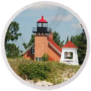 Little Traverse Lighthouse No.2 Round Beach Towel