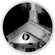 Little White Church Bw Round Beach Towel by Debra Forand