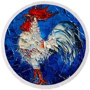 Little White Rooster Round Beach Towel by Mona Edulesco