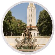 Littlefield Fountain And University Of Texas Tower Round Beach Towel