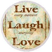 Live-laugh-love Round Beach Towel