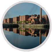 Liverpool Canning Docks Round Beach Towel by Jonah  Anderson