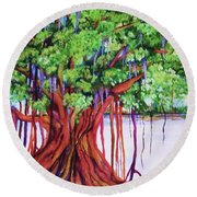 Living Banyan Tree Round Beach Towel