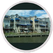 Round Beach Towel featuring the photograph Living On The Dock Of The Bay by Emmy Marie Vickers