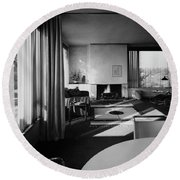 Living Room In Mr. And Mrs. Walter Gropius' House Round Beach Towel
