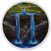Round Beach Towel featuring the painting Living Water by Cassie Sears