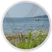 Round Beach Towel featuring the photograph Lobster Boat At Rest by Jane Luxton